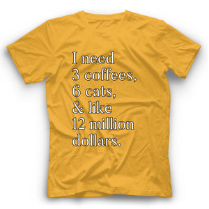 Cat & Coffee T Shirt Funny