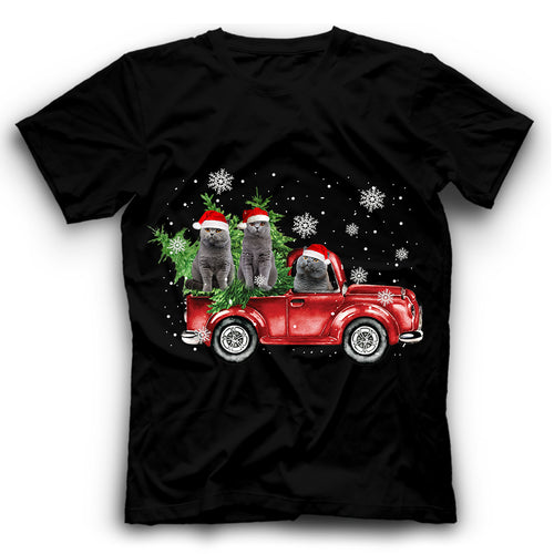 Christmas Truck British Shorthair Cat T Shirt Funny