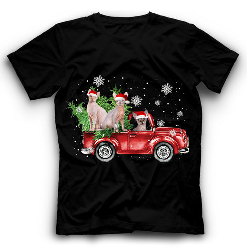 Christmas Truck Sphynx Cat T Shirt Funny