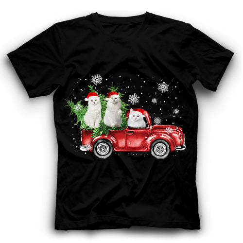 Christmas Truck White Cat T Shirt Funny