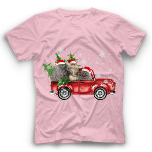Christmas Truck Maine Coon Cat T Shirt Funny