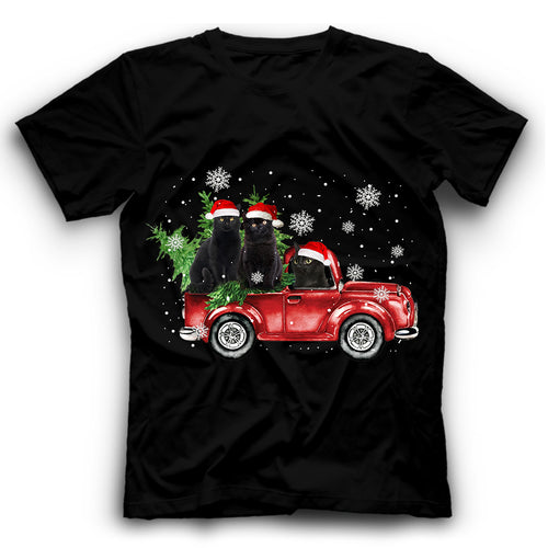 Christmas Truck Black Cat T Shirt Funny