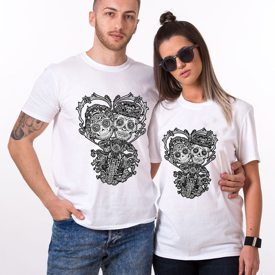 Valentine Skull Biker Couple T Shirt