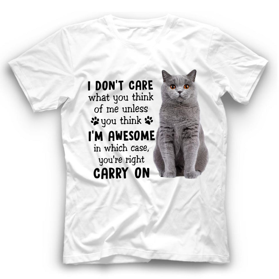 I Don't Care What You Think British Shorthair Cat T Shirt Funny