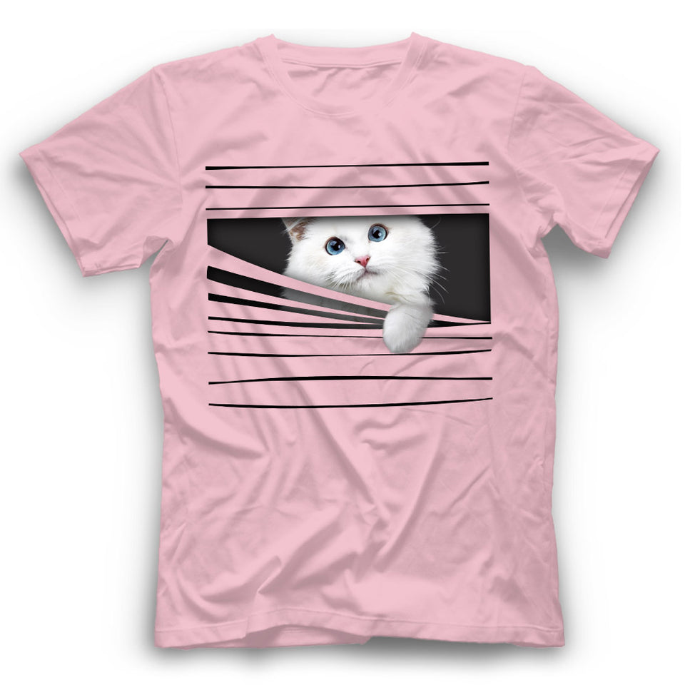 3D White Cat T Shirt Funny