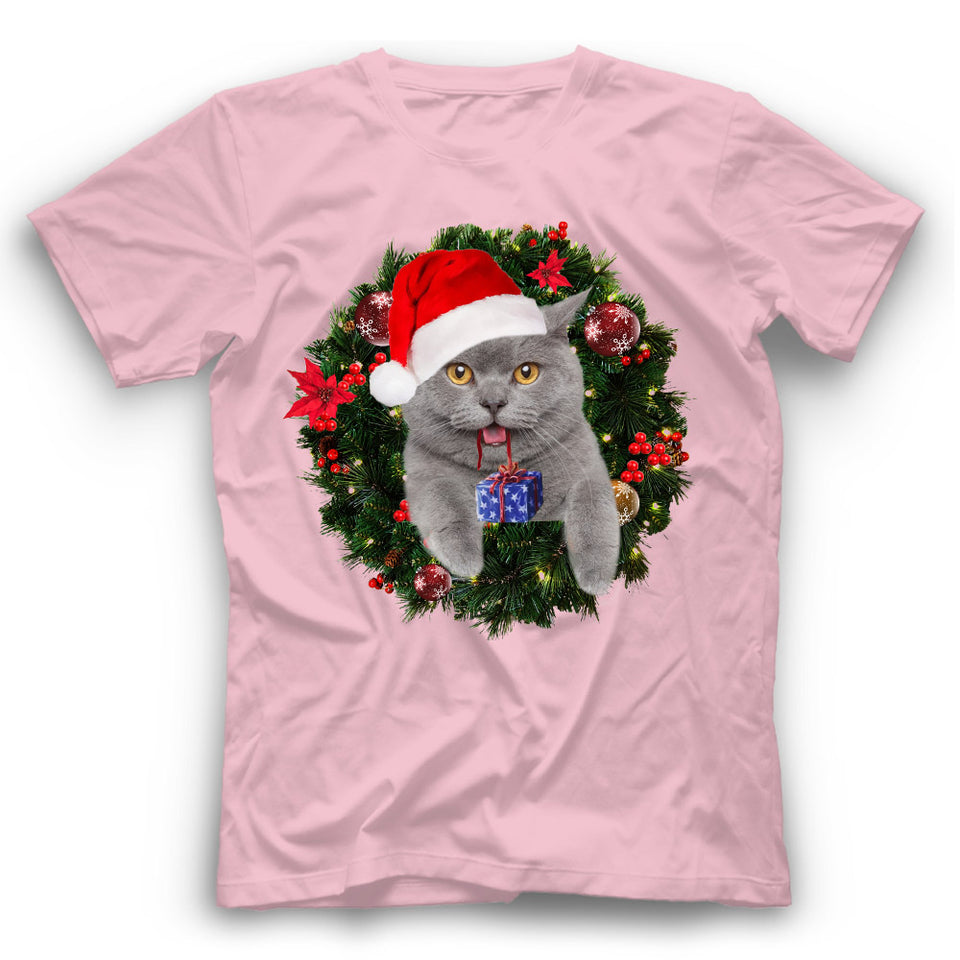Christmas British Shorthair Cat T Shirt Funny