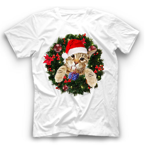 Christmas Bengal Cat T Shirt Funny