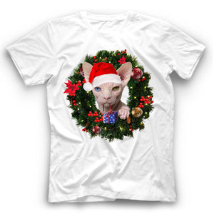 Christmas Sphynx Cat T Shirt Funny