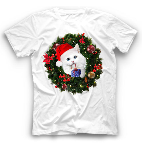 Christmas White Cat T Shirt Funny