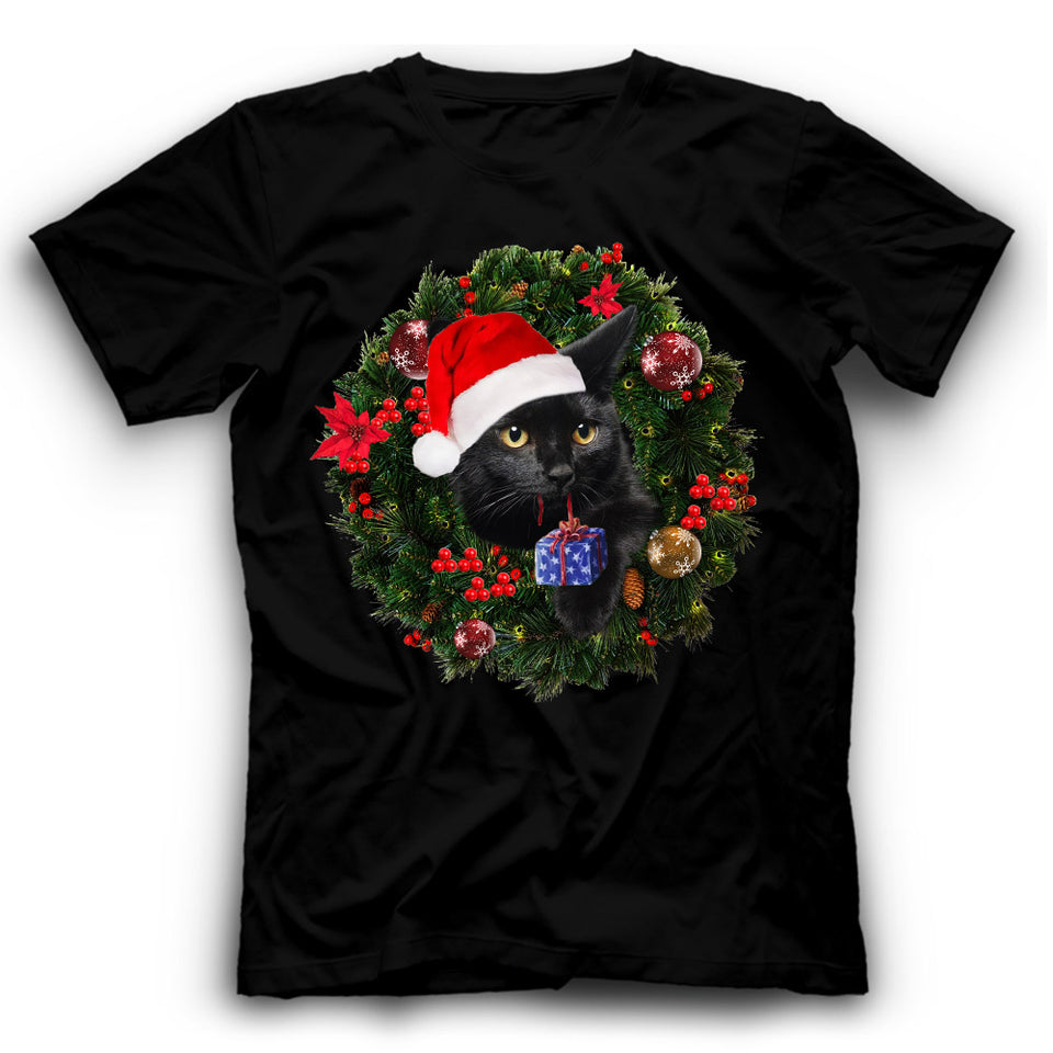 Christmas Black Cat T Shirt Funny