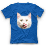 White Cat Face T Shirt Funny