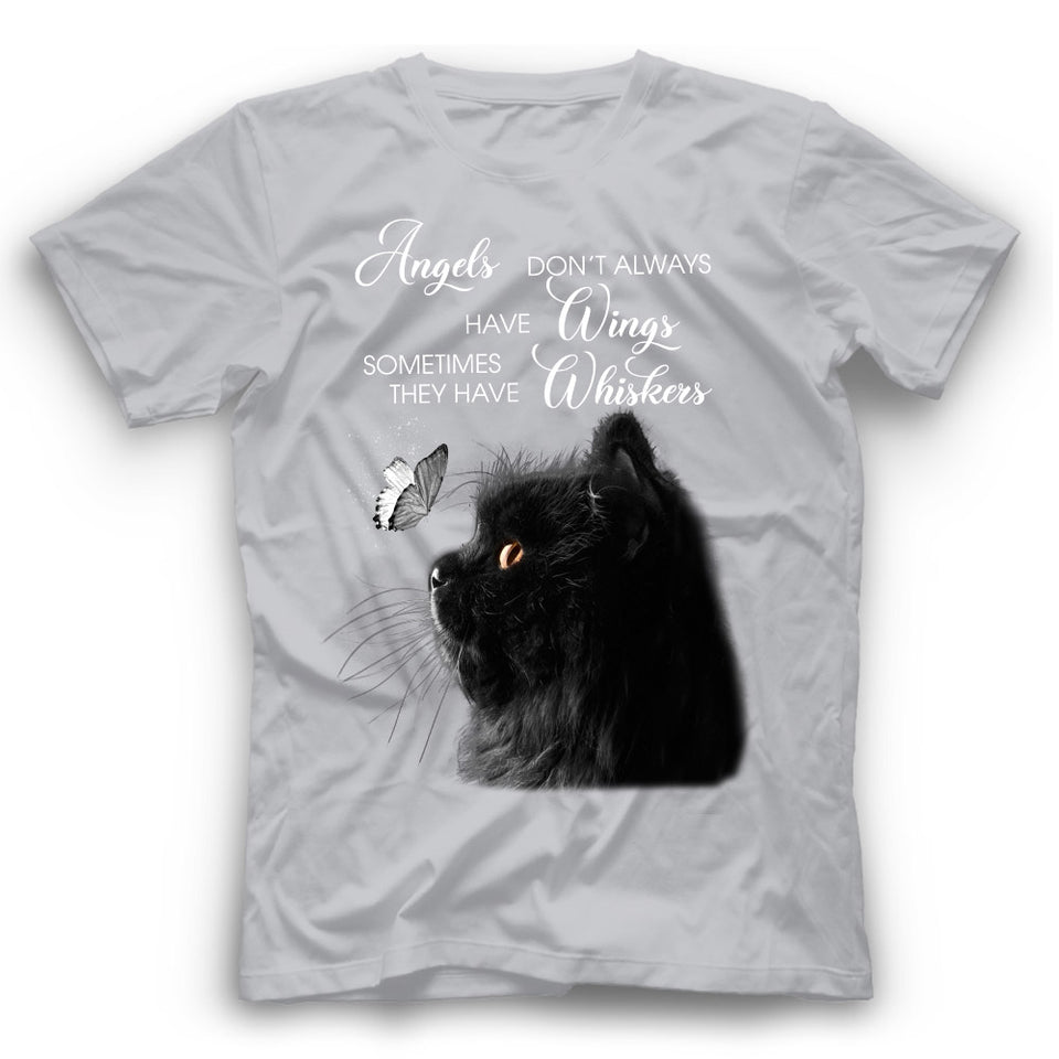 Angels Don't Always Have Wings Black Cat T Shirt Funny