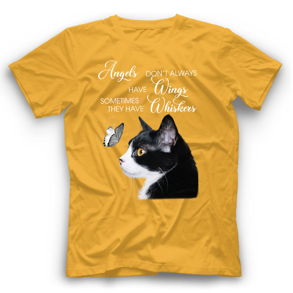 Angels Don't Always Have Wings Tuxedo Cat T Shirt Funny