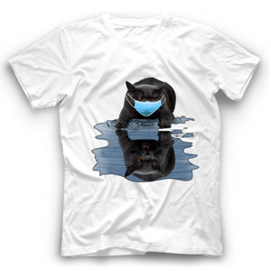 Angry Black Cat Reflection T Shirt Funny