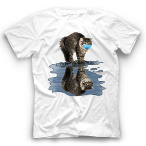 Angry Maine Coon Cat Reflection T Shirt Funny