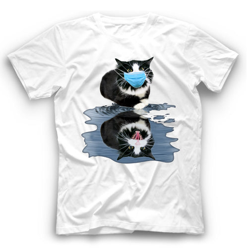 Angry Tuxedo Cat Reflection T Shirt Funny
