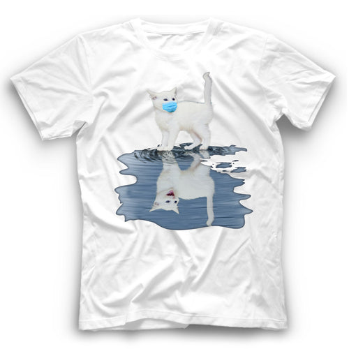 Angry White Cat Reflection T Shirt Funny