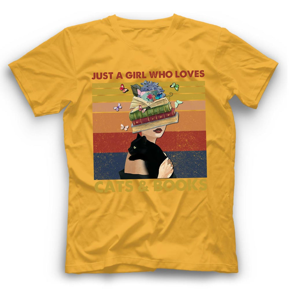 Just A Girl Who Loves Cats & Books Tshirt Funny