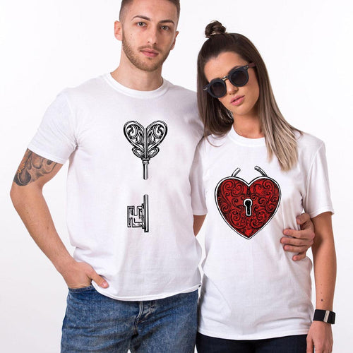 Valentine Vintage Key Couple T Shirt