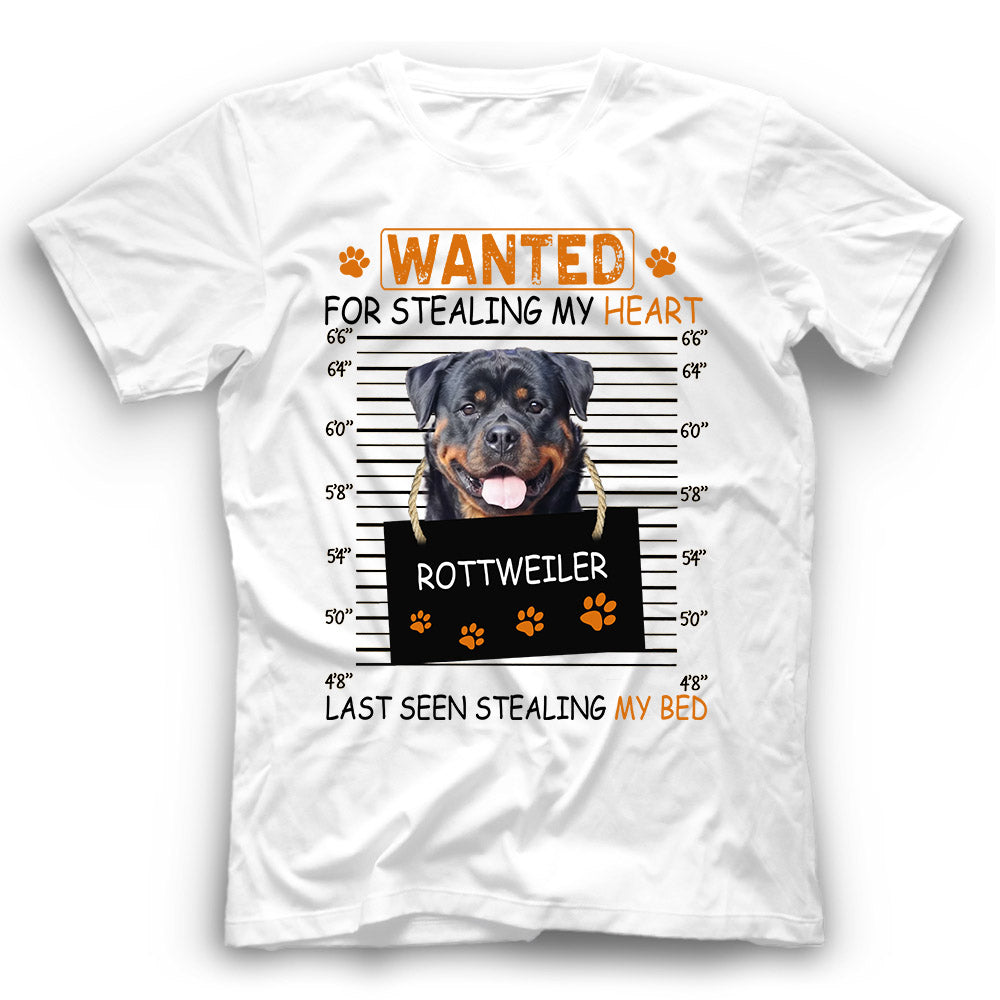 Rottweiler Wanted For Stealing My Heart T shirt