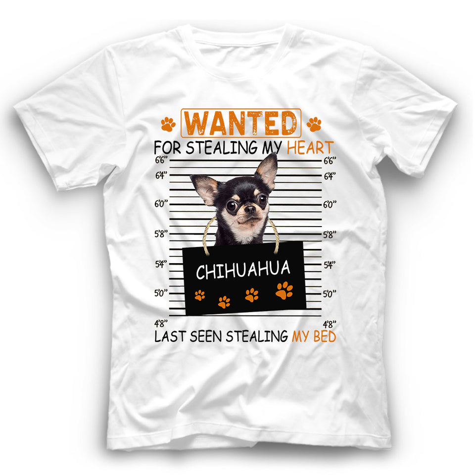 Chihuahua Wanted For Stealing My Heart T shirt