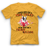 French Bulldog I Asked God For A True Friend So He Sent Me A Dog T shirt