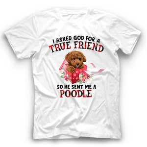 Poodle I Asked God For A True Friend So He Sent Me A Dog T shirt