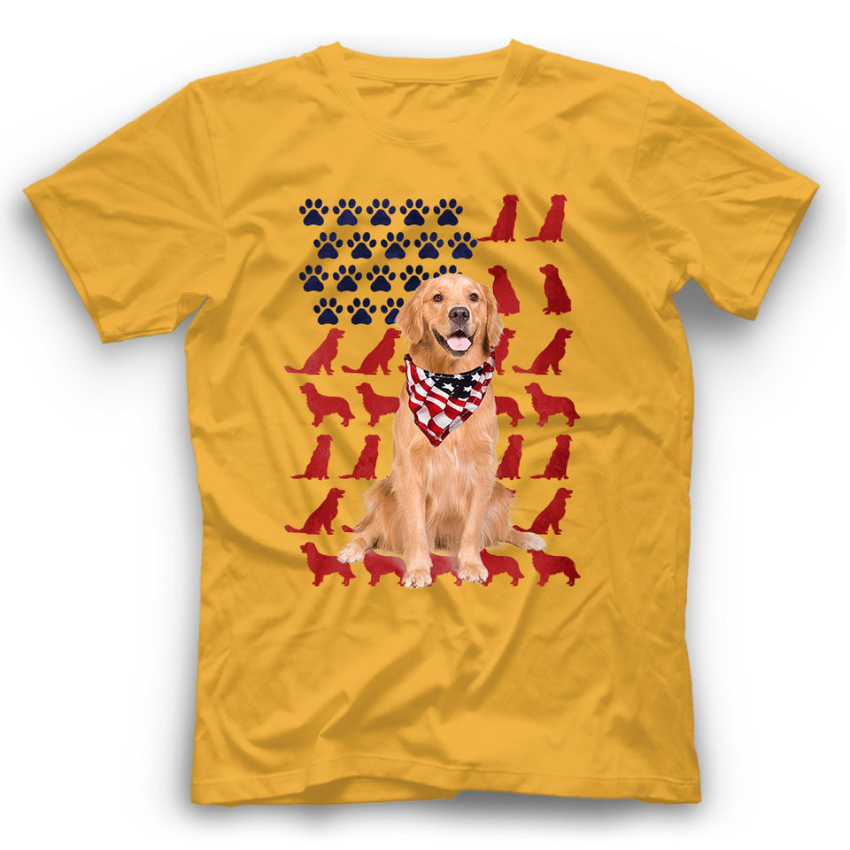 Golden Retriver American Flag Dog Silhouette T Shirt