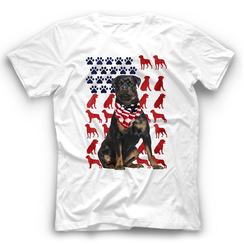 Rottweiler American Flag Dog Silhouette T Shirt