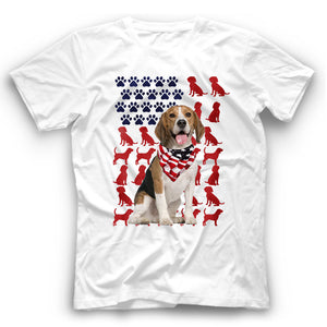 Beagle American Flag Dog Silhouette T Shirt