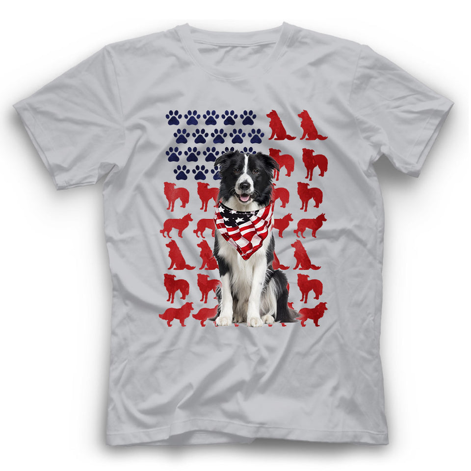 Border Collie American Flag Dog Silhouette T Shirt
