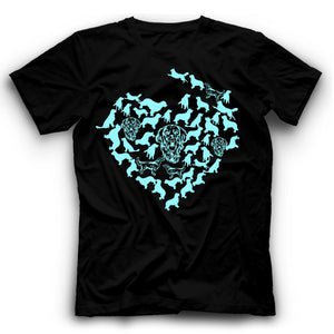 Golden Retriever Silhouette Heart T Shirt