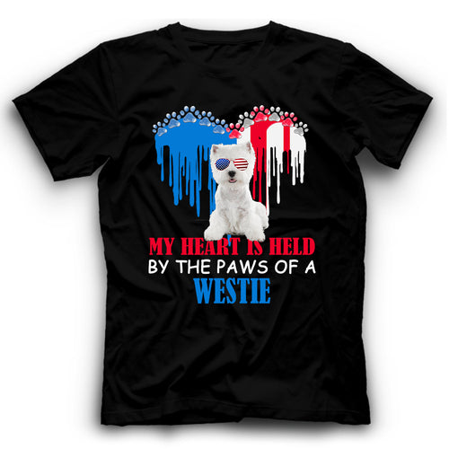 My Heart Is Held By The Paws Of A Westie T shirt