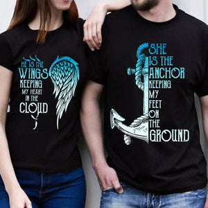 He Is The Wings She Is The Anchor Love Heart Couple T Shirt