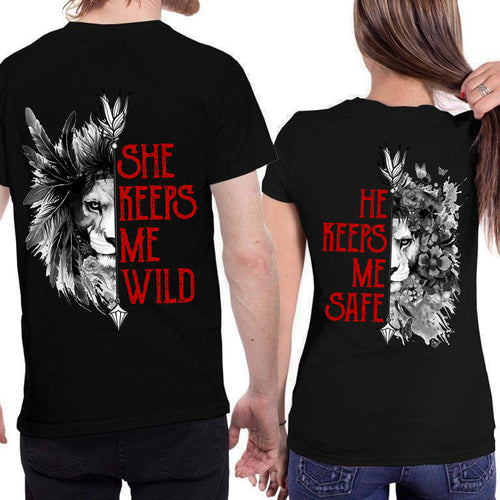She Keeps Me Wild He Keeps Me Safe Lion Love Heart Couple T Shirt