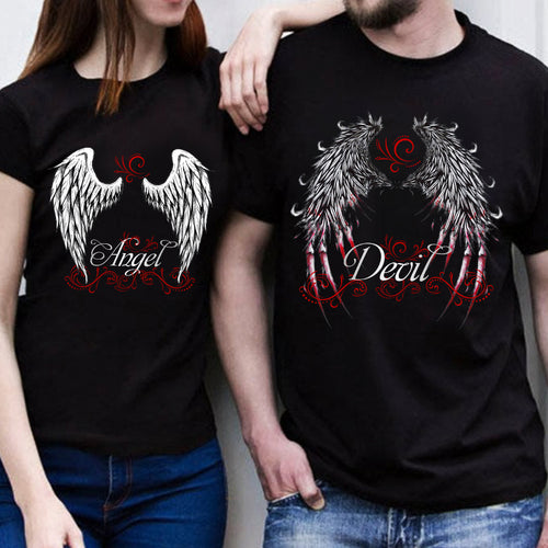 Devil And Angel Wings Love Heart Couple T Shirt