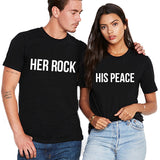 Valentines Her Rock His Peace Couple Tshirt