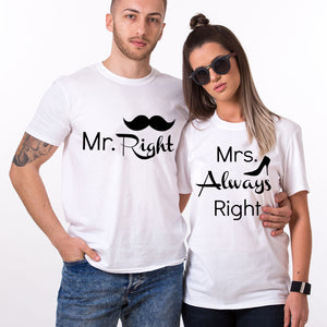 Valentines Mr Right Couple Tshirt