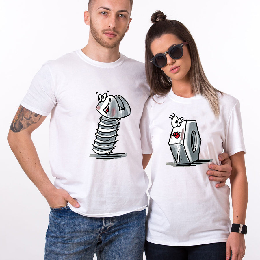 Valentine Nut And Bolt Couples Funny Tshirt