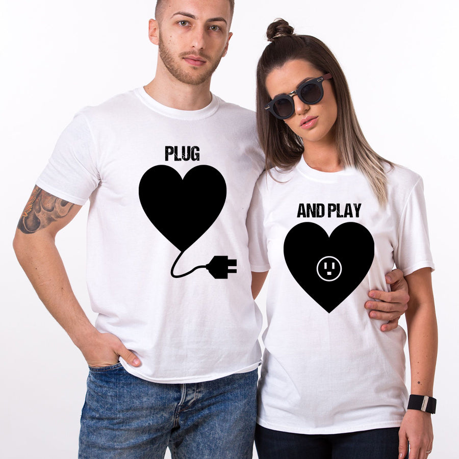 Valentines Plug And Play Funny Couple T Shirt