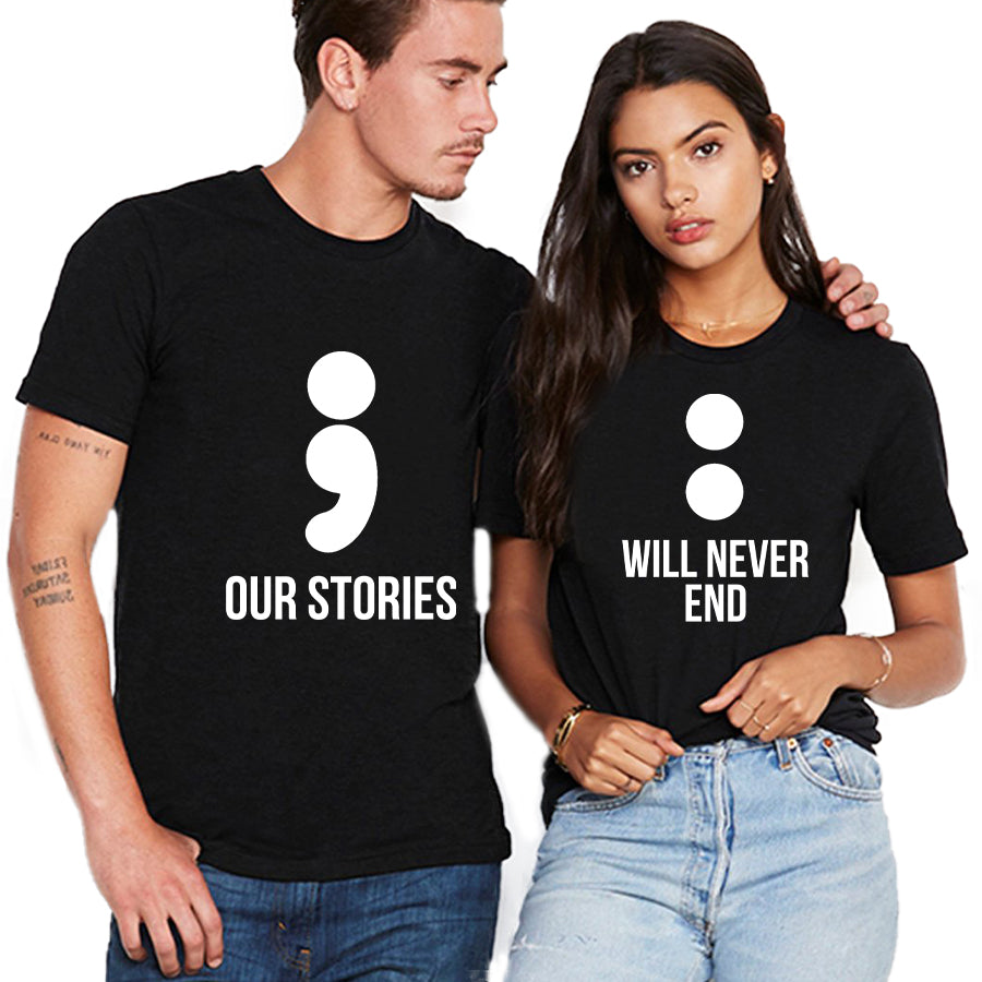 Valentines Our Stories Will Never End Matching Couple T Shirt