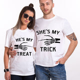 Valentines He's My Treat She's My Trick Funny Couple T shirt