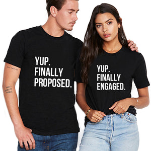 Valentine Yup Finally Engaged Funny Couple T shirt