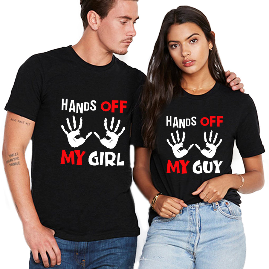 Valentine Hands Off My Girl/ My Guy Couple T shirt