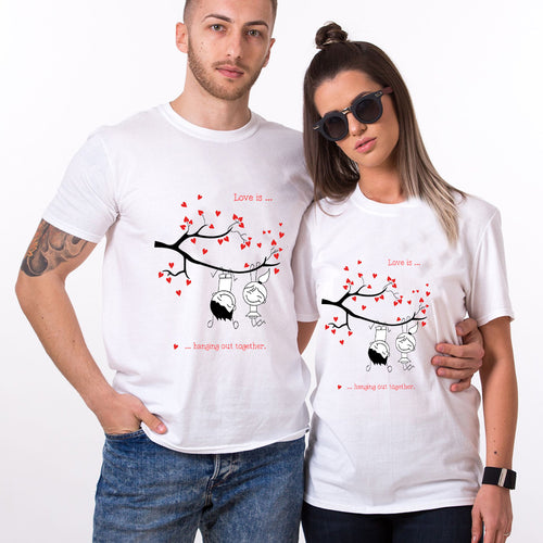 Valentine Love Is Hanging Out Together Couple T shirt