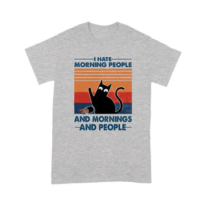 I Hate Morning People Black Cat T Shirt Funny