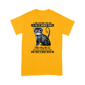 Getting Old Black Cat T Shirt Funny