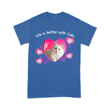 Life Is Better With White Cat T Shirt Funny