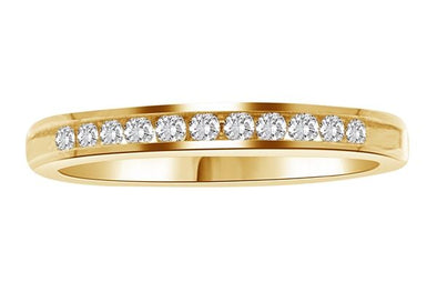 LADIES BAND 1/6 CT ROUND DIAMOND 14K YELLOW GOLD