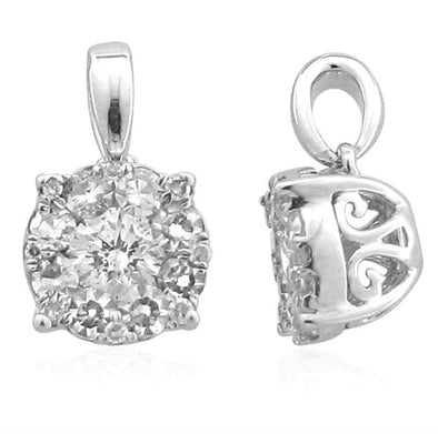 LADIES PENDANT 1 CT CNTR-3/4 CT ROUND DIAMOND 14K WHITE GOLD
